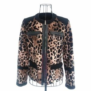 Carlisle NWOT Leopard Jacket Leather and Wool Trim